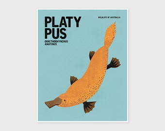 PLATYPUS Wildlife of Australia, Nursery Wall Art, Nursery Print, Nursery Animal Art, Retro Poster