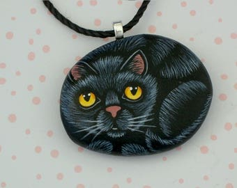 SHIPS FREE-Mothers Day necklace pendant Black cat costume jewelry gift ideas hand painted pet rocks stone pendant crazy cat lady cat lover