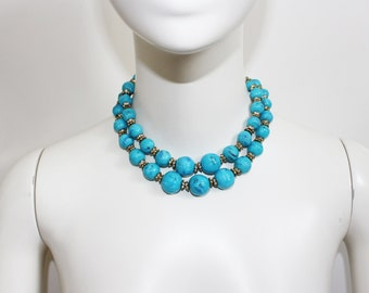 Vintage Costume Chanel Attributed Turquoise Bead and Rhinestone Disc Double Necklace