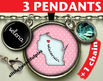 """Wisconsin map necklace / pendant / jewelry / state map / jewellery / pendant / necklace / key chain / key ring / key fob / Souvenir """"n049C"""""""