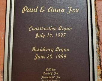 Personalized Engraved Bronze Outdoor Plaque w/ Screws, Memorial Plaque, Garden Plaque, Building Plaque, Bench Plaque, Custom Plaque