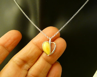 Natural Amber Pendant with Sterling Silver .925 chain in a gift box