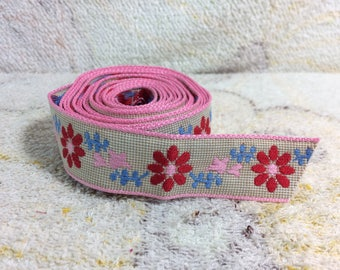 Vintage Embroidered Woven Trim 60s 70s Peace Hippy Boho Festival Craft Sewing Supplies Flowers Floral Pink Red Blue