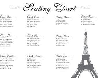 Paris Seating Chart Digital Design Printable PDF Custom Personal Poster Print File ONLY Seat map plan