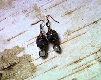 Blue, Green and Brass Terra Cotta Earrings (2077)