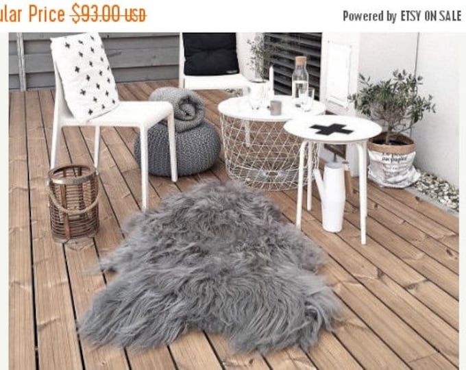 ON SALE Genuine Natural Icelandic Sheepskin Rug | Sheepskin throw | Chair Cover |Super Soft Rug| nordic rug | Scandinavian Rug
