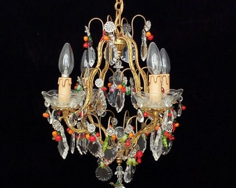 Fruit chandelier etsy unique french shabby chic chrystal chandelier with murano glass fruit aloadofball Images
