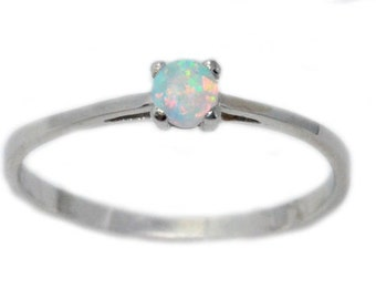 3mm Opal Round  Beautiful Stacking Dainty Ring .925 Sterling Silver