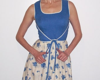 Maxi Summer Dress Leslie Fay Blue and White, Gown  sz S ,Vintage,excellent condition