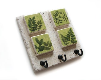 Lime Green Leaf Key Hook, Key Rack, Decorative Tile Wall Key Holder, Wall Hooks, Jewerly Organizer, Leaves