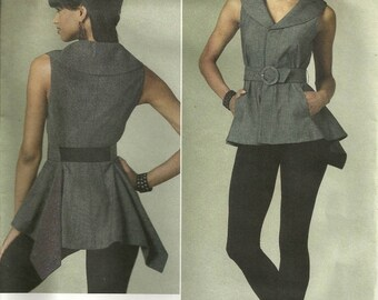 Vogue 1214 Flared Short Top Belt Skinny Leggings Sewing Pattern Size 12-14-16-18 Chic