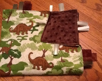 Dinosaurs Ribbon Blanket with cut and heat sealed ribbons
