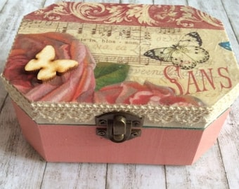 Floral Box, Jewellery Box, Storage Box, Decorative Box, Housewarming Gift, Gift for Grandmother, Gift for Mother's Day, Gift for Girlfriend