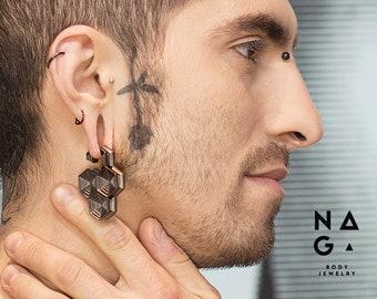 Oxidised silver Hexacross ear weights, Black ruthenium silver Hexacross ear weights, 2g 6mm ear weights, Gauged earrings