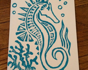 5 - Hand Made Sea Horse Block Print Art Card Set - Aqua on White