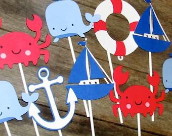 6 Nautical Table Decor Sticks, Table centerpiece sticks Crab, whale, anchor, sailboat