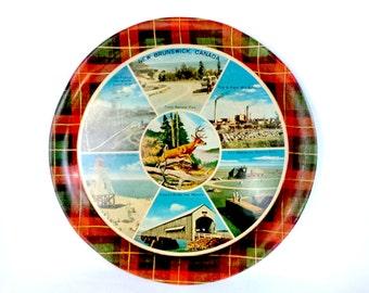 New Brunswick Canada Metal Serving Tray, Travel Souvenirs, Plaid, Serro Scotty