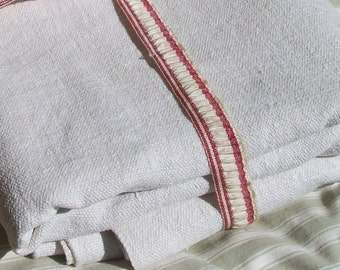 Antique French Fabric pure hand loomed chanvre Organic hemp linen  weave loom width