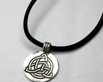 Unisex Necklace, Jewelry for Men, Gift for him ~ Celtic Knot ~ Pure Silver Irish Necklace