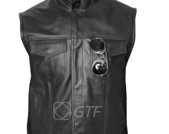 JAX-Classic Leather 'Cut - Off 'Motorcycle Waistcoat Black Vest