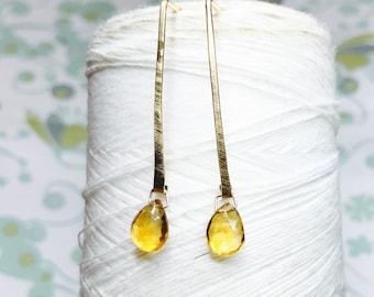 14K Gold FIll - Citrine Line Earrings / 14k gold earrings / citrine drop earrings / minimalist earrings / citrine dangle earrings
