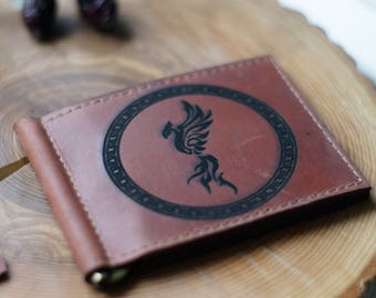 Leather money clip wallet with PHOENIX bird /  Mens Leather Wallet / Woman Leather Wallet / Card holder