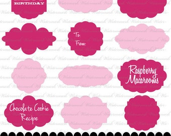 Pink frame clip art label clipart in fuschia and pink, ornate frame clipart square photo text digital : e0167 3s3738