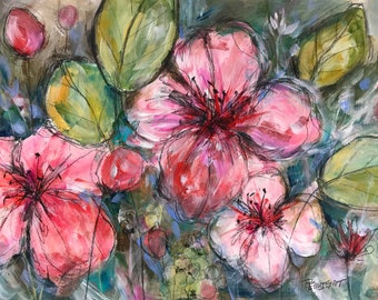 Original modern mixed media nature tropical painting art contemporary floral botanical flowers