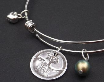 Tree of Life Bangle Bracelet, Tree of Life Jewelry, Tree of Life Charm, Tree of Life gift, Roots and Wings bangle bracelet