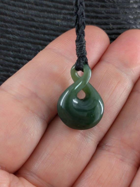 Nephrite Jade Stylized Maori Small Infinity Symbol Necklace