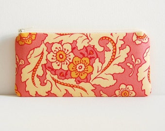 Zipper Pouch, Coin Purse, Change Pouch, Women and Teens, Finery in Peachy Pink, Heather Bailey Freshcut