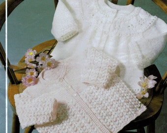 Baby 4ply & Dk 8ply Light worsted Matinee Jackets 16-18ins - Phildar 460 - PDF of a Vintage Knitting Patterns