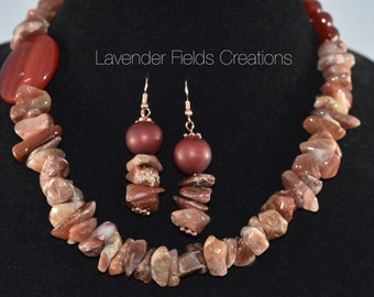Petrified Wood, Pomegranate Agate and Glass Bead Statement Necklace and Earring Set (20188N)