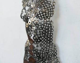 Abstract Metal wall art sculpture home decor female nude torso iron steel