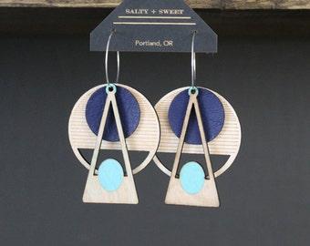 Laser cut earring | DECO: Blue