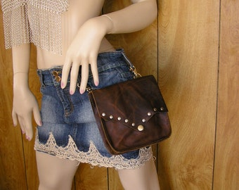 "Brown leather hip bag, hands free bag,  oil tan distressed pull-up leather, 6.5"" x 6.5"" x 2"", snap, inside pocket"