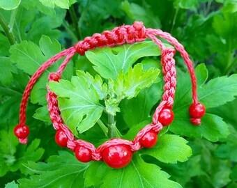 Red Crochet Beaded Bracelet