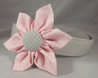 Pink Cat Collar, Breakaway Cat Collar, Gray Cat Collar, Girl Cat Collar, Pink and Gray Cat Collar, Bell & collar flower, kitten collar