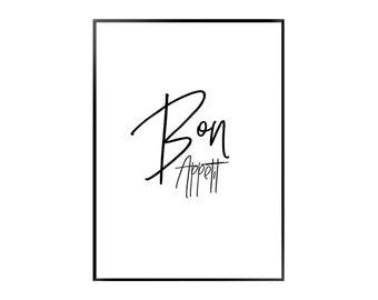 Bon Appetit 3 Poster - Kitchen - Black - White - Print