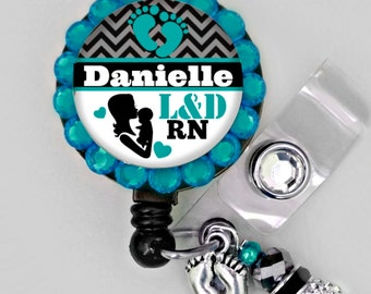 Retractable ID Badge Reel - L&D-Personalized Labor and Delivery Nurse Badge ID Reel - Medical- Can put any Title (E188)