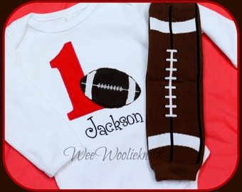 Personalized Football Birthday T Shirt and Baby Legs 2 Piece Set Leg Warmers Boys Embroidered Applique Sports Any Number 1st 2nd 3rd 4th 5th