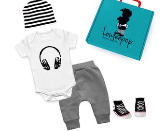 ROCKSTAR BABY KIT Headphones white onesie, grey pants, striped hat, sneaker booties & optional gift box