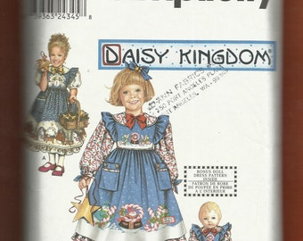 Simplicity 9435 Daisy Kingdom  Dress & Pinafore for Little Girls  Raised Waist and Matching Doll Dress  Sizes 5 to 8 UNCUT