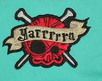 Embroidered Patch / applique - Knitters Yarn Skull - sew or glue on 4x3""