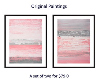 pink grey abstract painting Set of two original acrylic painting wall art home decor gift for her gift for mom by qiqigallery