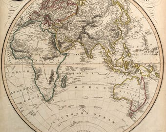 Eastern Hemisphere; Lovely Antique Vintage Cartography, 1842