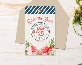 Magnet - Save the Date Luggage Tag & Envelopes {Tropical}