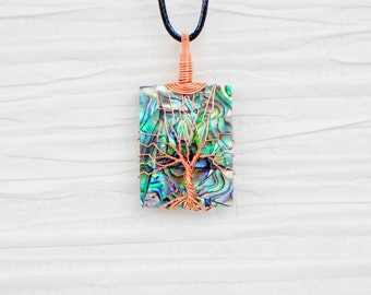 Abalone Wire Wrapped Tree of Life Pendant Necklace