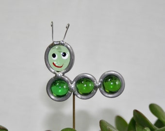 Stained Glass Green Caterpillar Plant Stake