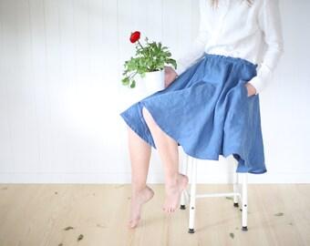 Linen Skirt With Elastic Waist | Washed Linen Skirt With Pockets | Circle Skirt | Wide Skirt |  Midi Linen Skirt | High Waist |